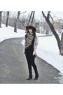 Black-ankle-boots-steve-madden-boots-olive-green-blanket-scarf-wilfred-scarf