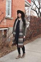 heather gray blanket scarf BDG scarf - brown wide brim goorin bros hat