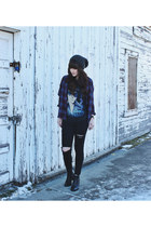 navy Gentle Fawn shirt - black ankle boots Steve Madden boots