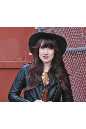 black faux leather H&M jacket - tawny lace up Project Social T top
