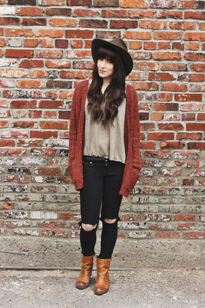 knit Forever 21 cardigan - ripped Just Usa jeans - v neck Urban Outfitters shirt