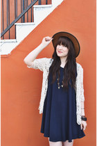 brown leather goorin bros hat - navy shirt dress brandy melville dress