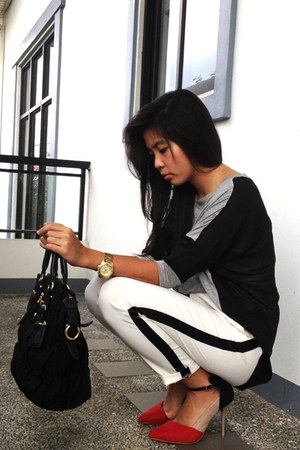 black Forever 21 sweater - black Prada bag - white Forever 21 pants
