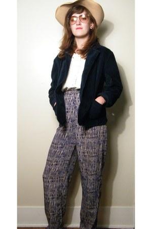 hat - velvet blazer - pants