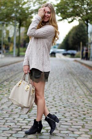 black Topshop boots - beige Zara sweater - nude Prada bag