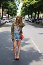H&M shirt - H&M Trend jacket - Zara bag - jeans Sheinside shorts - Zara heels