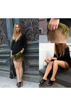 satin H&M shorts - cashmere Zara sweater - leather Zara wedges