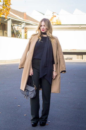 Zara coat - JustFab boots - christian dior bag - Zara pants
