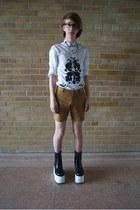 black platforms boots - white asos shirt - bronze American Apparel shorts
