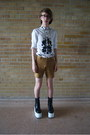 Black-platforms-boots-white-asos-shirt-bronze-american-apparel-shorts