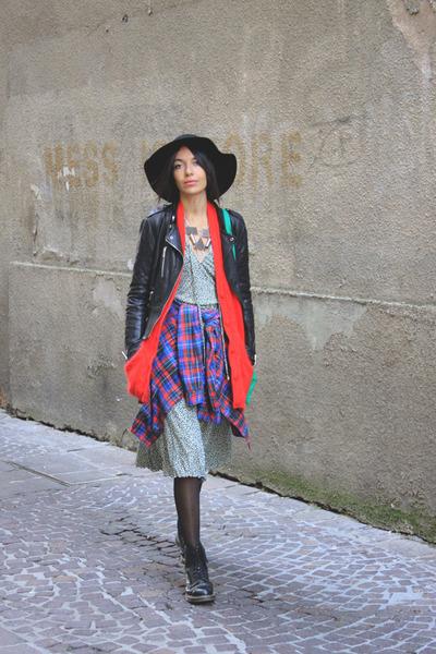 Cheap Monday hat - Dr Martens boots - giant vintage dress