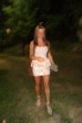 Light-brown-small-chanel-purse-cream-bag-peplum-floral-skirt