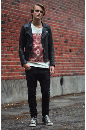second hand jacket - Cheap Monday jeans - weekday t-shirt - Converse sneakers