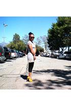 gold  shoes - black f21 leggings - silver Target dress - black accessories
