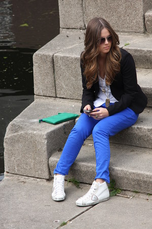 blue Topshop pants - blue green Zara bag - gold H&amp;M accessories