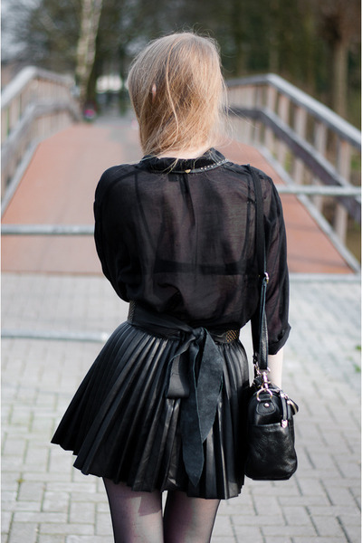 black Dr Martens shoes - black hm skirt - black hm blouse - black Zara belt