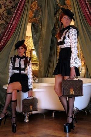 black dress - dark brown Louis Vuitton bag