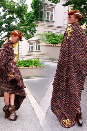brown Louis Vuitton bag - maroon DIY cape - camel H&M hair accessory