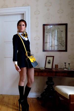 black Topshop dress - yellow bag - gold Topshop earrings