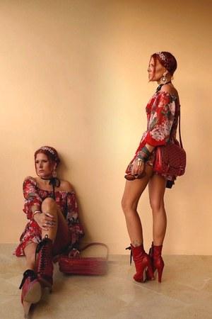 ruby red Miu Miu boots - ruby red Mango dress - ruby red bag