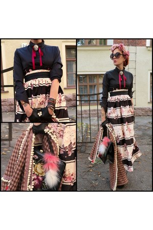 black vintage bag - black Choies skirt