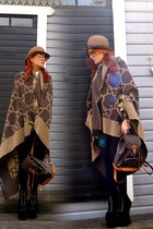 tan hat - light brown Gucci scarf - dark brown Louis Vuitton bag