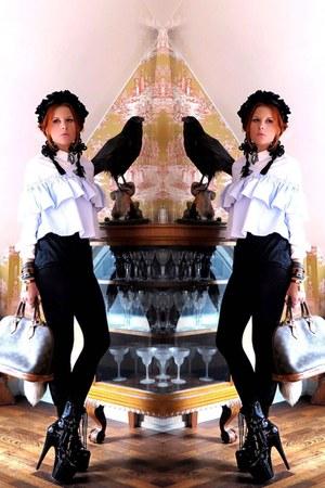 brown Louis Vuitton bag - sky blue Zara top - dark gray H&M earrings