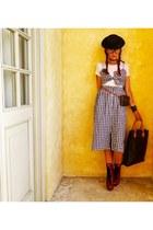 red Miu Miu boots - navy Zara dress - brown Louis Vuitton bag