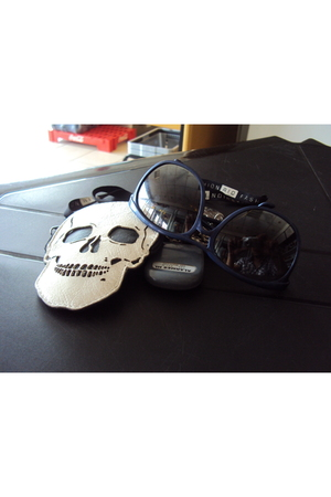 white wallet - blue sunglasses - silver
