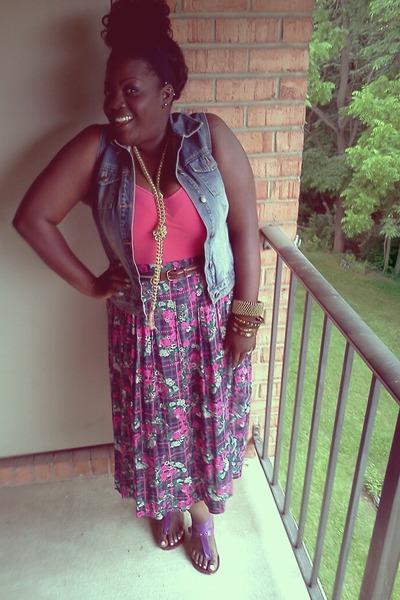 thrifted skirt - thrifted vest - cami bodysuit - thrifted belt