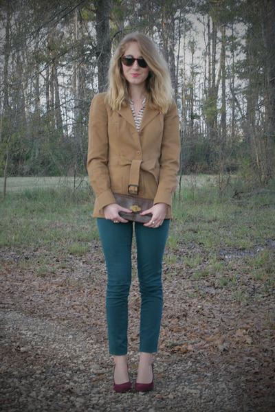 vintage coat - Old Navy blouse - Loft pants - calvin klein pumps
