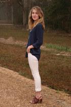 navy TJ Maxx blouse - white Levis jeans
