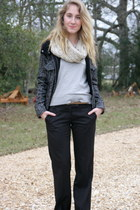 black Gap coat - tan Clarks boots - black To The Max pants
