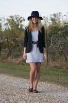 navy Gap hat - heather gray Gap dress - navy christian dior blazer