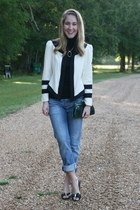 black Gap t-shirt - navy Levis jeans - cream Camilyn Beth jacket