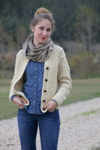 eggshell vintage sweater - tan Dolce Vita boots - navy Levis jeans