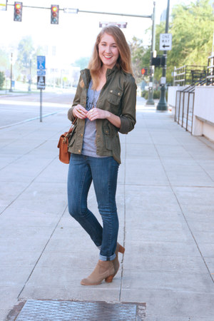 army green asos jacket - light brown DV Dolce Vita boots - navy Levis jeans
