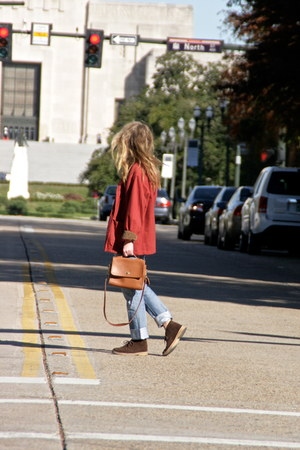 brown coach bag - dark brown Clarks boots - navy Levis jeans