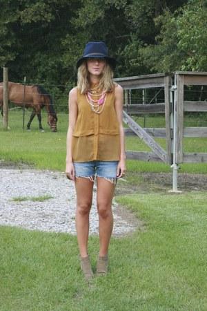 BCBGeneration blouse - DV Dolce Vita boots - Gap hat - Levis shorts