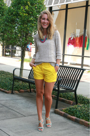 yellow J Crew shorts - tan Old Navy sweater - aquamarine Nine West sandals