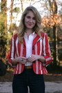Tan-clarks-boots-navy-levis-jeans-red-luella-for-target-blazer