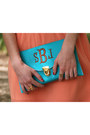 Salmon-merci-beaucoup-dress-turquoise-blue-two-funny-girls-purse