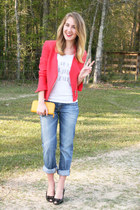 coral Target blazer - navy Lucky Brand jeans