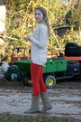 Red-gap-pants-ivory-element-sweater-mustard-urban-outfitters-shirt