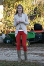 Ivory-element-sweater-mustard-urban-outfitters-shirt-red-gap-pants