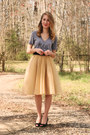 Gold-eshakti-skirt-heather-gray-jolie-elizabeth-t-shirt-black-vintage-belt