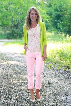lime green Gap cardigan - bubble gum TJ Maxx blouse - bubble gum Gap pants
