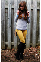 black thigh high Ardene boots - mustard skinny H&M jeans