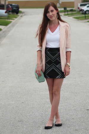 black sequin Dynamite skirt - light pink Dynamite blazer