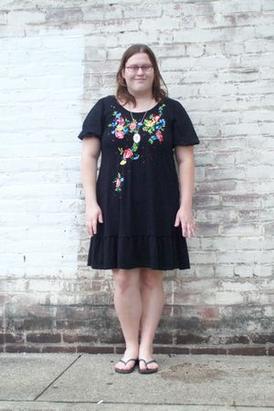 black Macys dress - black Old Navy shoes - silver DIY necklace